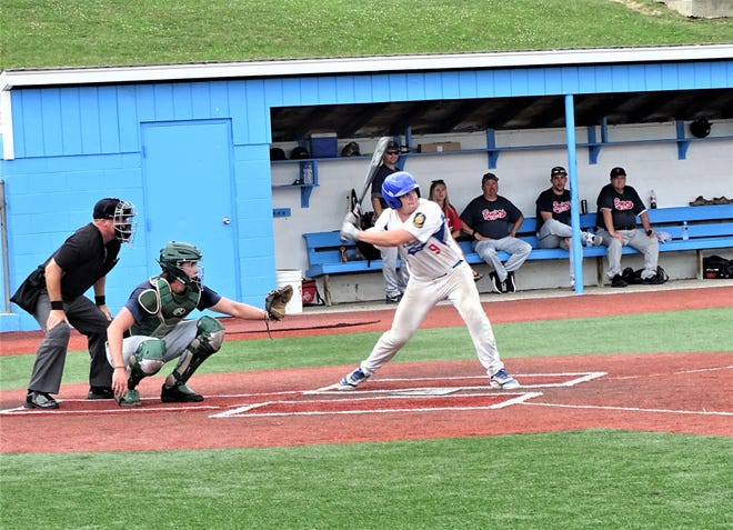 Lancaster Post 11's Ethan Hyme gets set to take a swing against Conneaut Post 151 during the American Legion State Tournament at Beavers Field. Post 11 was knocked of the tournament after losing 3-2 to Conneaut Friday morning.