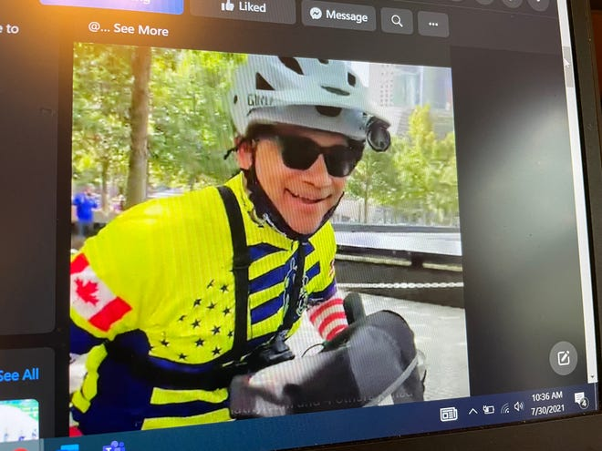 South Lyon father Ganesh Shenoy embarks on a 1,000-mile charity bike ride in this image captured on The Epic Bike Ride Facebook page, Friday, July 30, 2021.