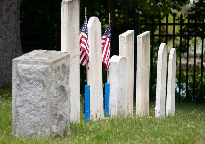Cemetery headstones in the Brighton Village Cemetery, shown Friday, July 30, periodically require repair.