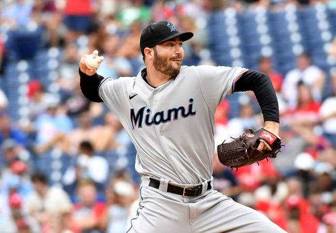 Jul 18, 2021; Philadelphia, Pennsylvania, USA; Miami Marlins starting pitcher John Curtiss (39) throws a pitch during the fifth inning against the Philadelphia Phillies at Citizens Bank Park. Mandatory Credit: Eric Hartline-USA TODAY Sports