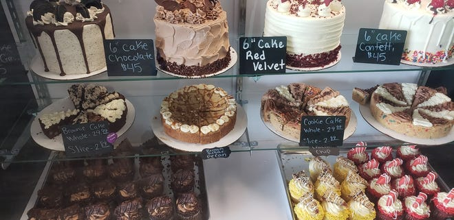 Some of the cakes and other desserts for sale at Kourtney's Kakes in Downtown Dickson.