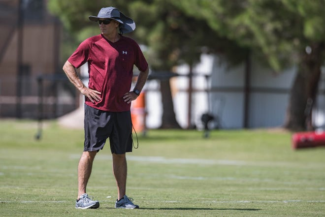 Head coach Doug Martin is pictured at the first practice on NMSU campus in Las Cruces on Friday, July 30, 2021.