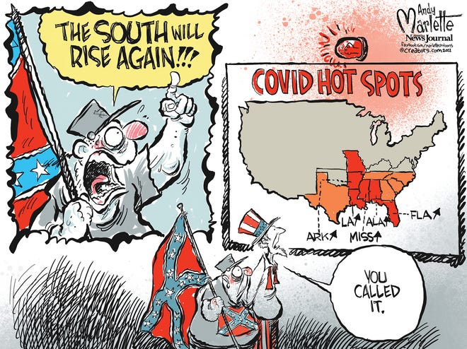 Marlette cartoon: South spikes with COVID