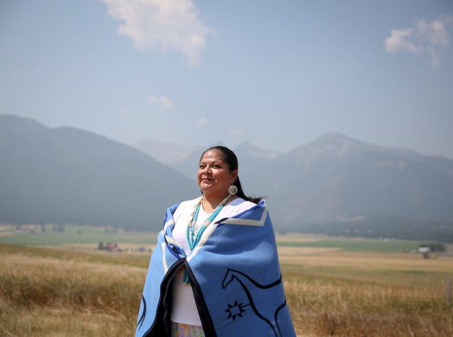 Shari BlackEagle joins her family in the Nez Perce Tribe for a land blessing ceremony on Thursday. BlackEagle's family descends from Chief BlackEagle who is Chief Joseph's brother-in-law.