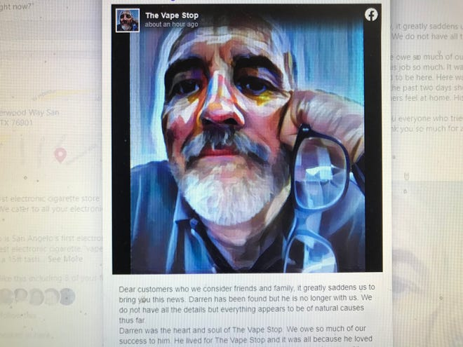 A screenshot taken by a cellphone shows an image of Darren Corley. The image was posted Friday, July 30, 2021, on Facebook by The Vape Stop who announced officials had recovered Corley's body.