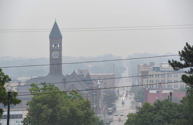 A smoky haze sits over the city on Friday, July 30, 2021 in Sioux Falls. Smoke from Canadian wildfires has created an unhealthy air quality in areas as it travels south.
