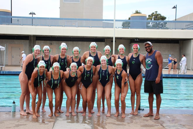 The Exeter Women's Water Polo Club 18-and-under squad finished 20th overall at last week's USA Water Polo Junior Olympics in Southern California. The team includes, top right, left to right: top row, left to right: Erin Hirni (Exeter Union High School), Meg Gostanian (Golden West High School), Olivia Machado (Tulare Western High School), Regan Azevedo (Monache High School), Ariana Fregoso (Golden West High School), Ava Lobue (Monache High School), Madison Bounds (Porterville High School), Alicia Fregoso (Biola University), coach Jack Amaral; bottom row, left to right: Anissa Borges (Tulare Union High School), Paulina Cemo (Harmony Magnet Academy), Abigail Summers (Golden West High School), Finnlee Morgan (Redwood High School), Karlie Wanmer (Porterville High School), Nicole Tristao (Tulare Western High School). Not pictured: Ahna Davis (Porterville High School).
