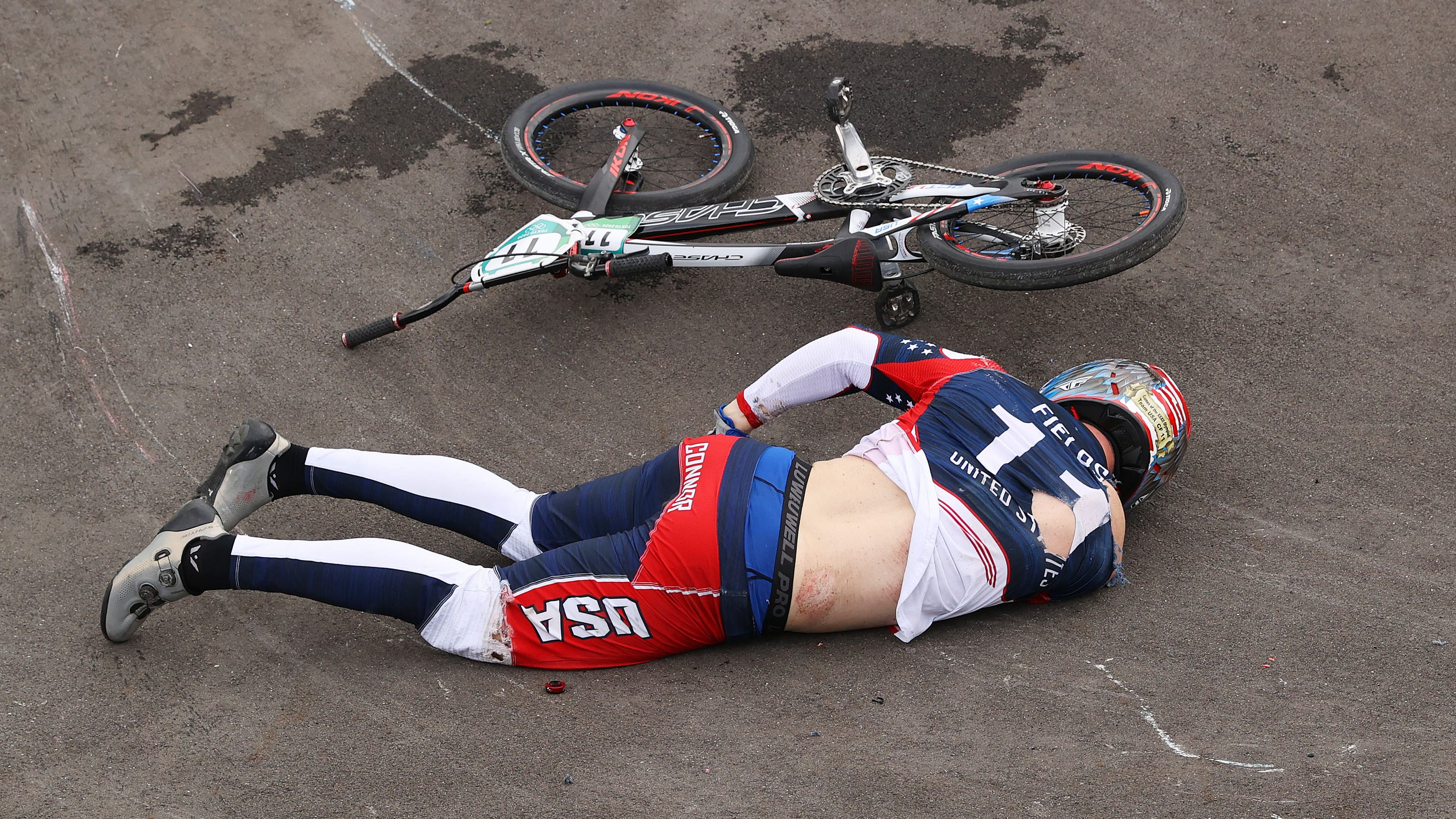 American Connor Fields stretchered off course following crash in BMX race