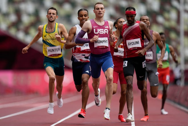 The USA's Clayton Murphy, a former University of Akron standout, wins a heat in the men's 800-meter run at the 2020 Summer Olympics, Saturday, July 31, 2021, in Tokyo. (AP Photo/Petr David Josek)