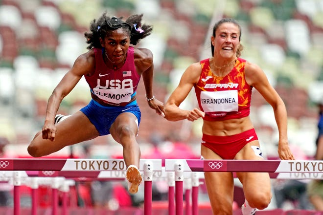 Christina Clemons posted a time of 12.76 seconds in the semifinals, which wasn't quite fast enough to be part of the eight women who will compete in the finals later Sunday.