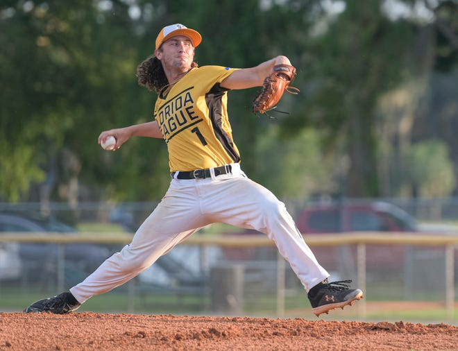 Leesburg Lightning pitcher Dominick Madonna works Friday during Game 1 of the Florida Collegiate Summer League championship series against the Winter Park Diamond Dawgs at Pat Thomas Stadium-Buddy Lowe Field in Leesburg. [PAUL RYAN / CORRESPONDENT]