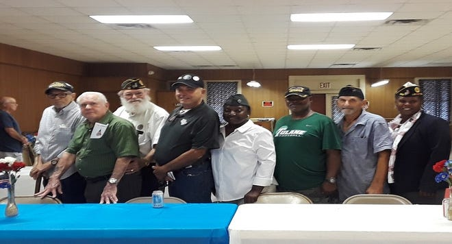 The American Legion Post 98 of Donaldsonville held its installation ceremony on July 20.  Shown from left are: Wilson J. Waguespack, Charles J. Breaux Sr., Leroy Plaisance, Richard Bouchereau, Rita Grace Williams, August Bennet, Norman Sanchez, and Sabrina Jones.