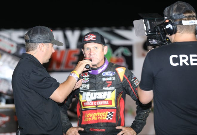 Kerry Madsen is interviewed after winning the 30-lap FloRacing All-Star Circuit of Champions feature Friday night at 34 Raceway.