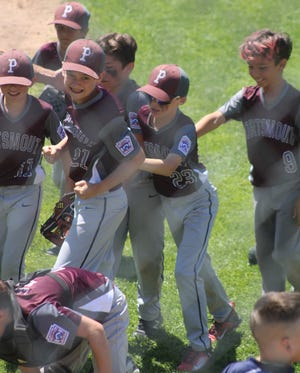 Members of the Portsmouth Little League 9- and 10-year-old all-star team celebrate Saturday's 5-4 win over Salem. The two teams meet again Sunday at 11 a.m. A Portsmouth win in the best-of-3 series would give the team the state championship.