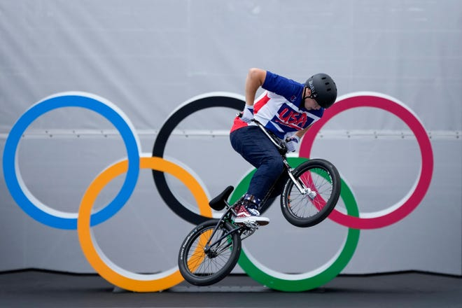 Hannah Roberts of the United States competes in the women's BMX Freestyle seeding at the 2020 Summer Olympics, Saturday, July 31, 2021, in Tokyo, Japan. (AP Photo/Ben Curtis)