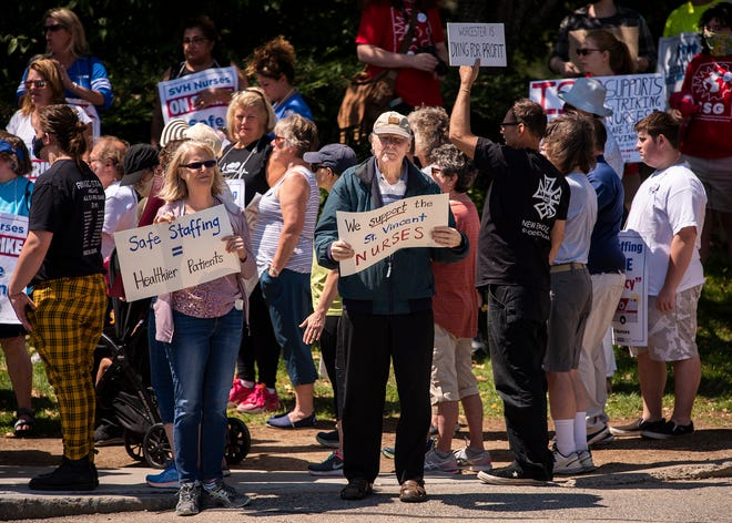 St. Vincent Hospital nurses continue on the picket line Saturday.