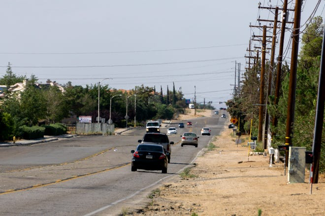Motorists drive down Maple Avenue in Hesperia on Saturday, July 31, 2021. The road received $2 million in federal funding for a widening project through a request from 8th District Rep. Jay Obernolte, his office said.