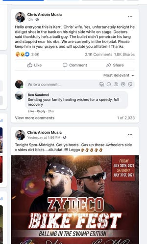 """Zydeco Musician Chris Ardoin's wife Kerri Ardoin posted on Facebook that her husband was """"shot in the back on his right side"""" while performing on stage at Zydeco Bike Fest at Louisiana Mudfest in Colfax."""
