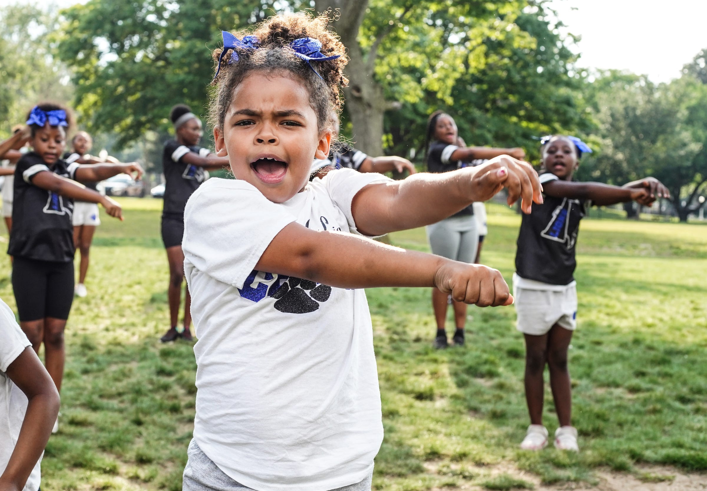 Detroit City Lions cheer team at Marygrove College in Detroit on July 29, 2021. Detroit City Lions, a youth program founded by Devon Buskin is more than a youth football program. The program offers robotics classes, volleyball, musical arts along with football and cheer.