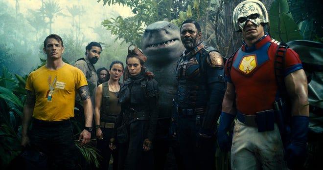 "Joel Kinneman, Alice Braga, Daniela Melchior, Sylvester Stallone, Idris Elba and John Cena, among others, in a scene from ""The Suicide Squad."""