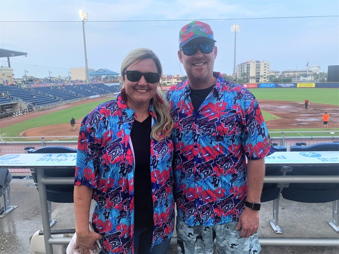 Carrie and Brent Burns were in line early Friday to get the Blue Wahoos' giveaway shirt promotion Friday. The game was postponed and rescheduled Saturday.