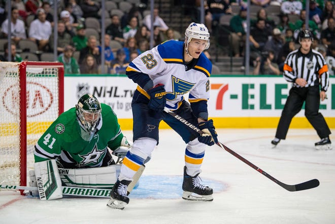 Sep 18, 2018; Dallas, TX, USA; St. Louis Blues right wing Dmitrij Jaskin (23) in action during the game against the Dallas Stars at the American Airlines Center. Mandatory Credit: Jerome Miron-USA TODAY Sports