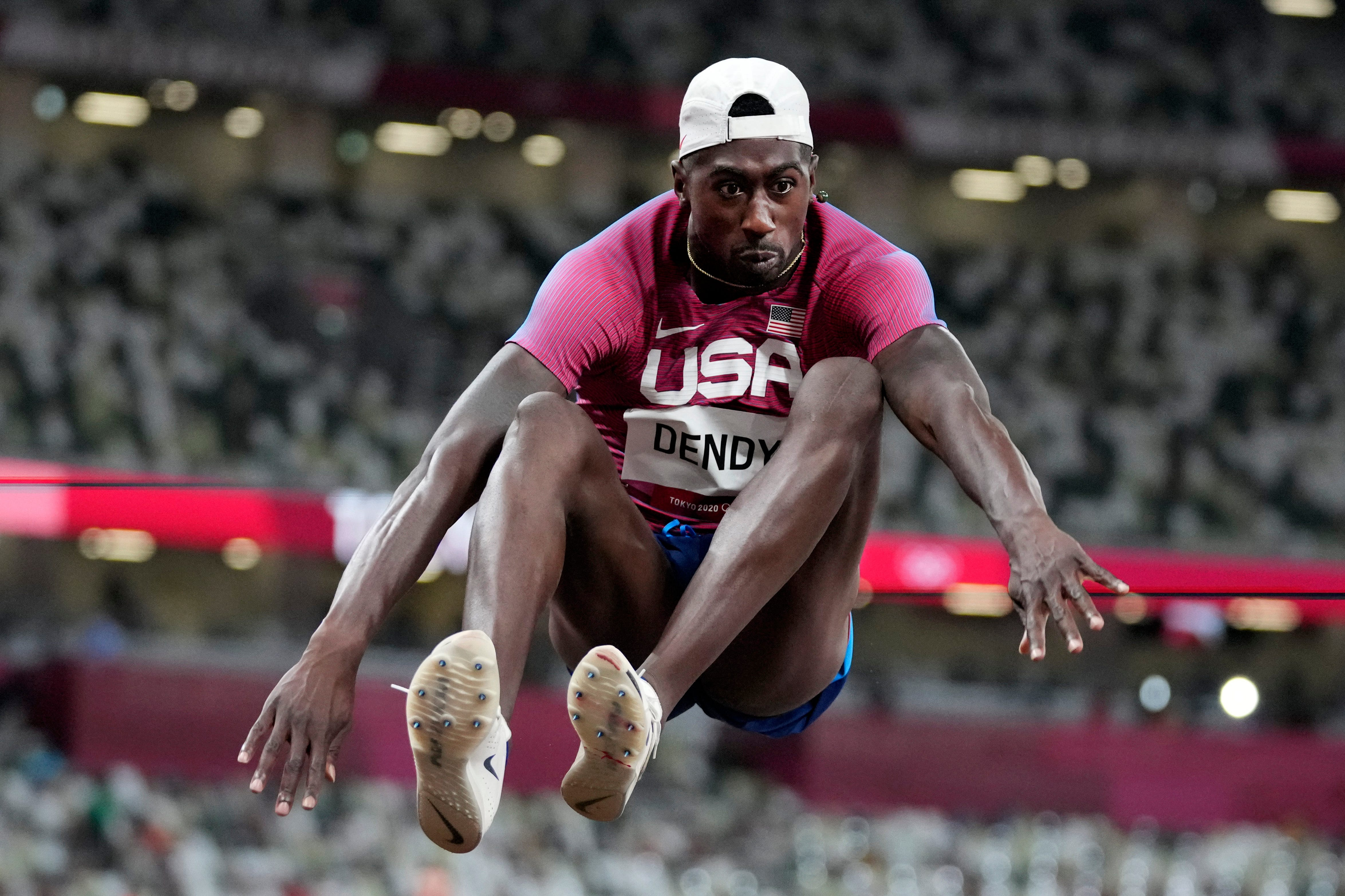Middletown High graduate Marquis Dendy competes in the long jump at the 2020 Summer Olympics, Saturday, July 31, 2021, in Tokyo.
