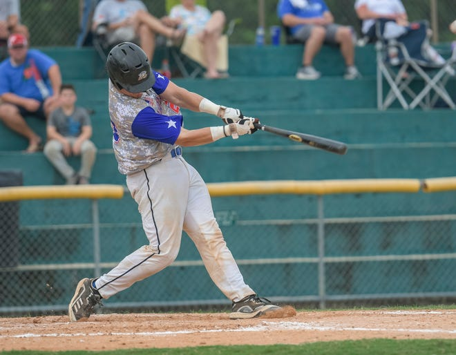 Leesburg's Clay Stearns (23) hits a home run during Sunday's  final game of the Florida Collegiate Summer League Championship series against he Winter Park Diamond Dawgs at Pat Thomas Stadium-Buddy Lowe Field in Leesbur. [PAUL RYAN / CORRESPONDENT]
