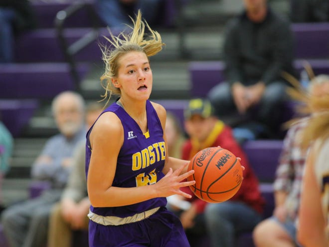 Onsted's Mya Hiram brings the ball up the floor during a game in the 2019-20 season. [Telegram photo by John Discher]