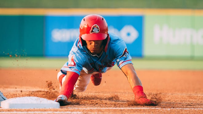 Peoria Chiefs two-way prospect Masyn Winn is a weapon on the basepaths. He stole 16 bases on 18 tries at low-A Palm Beach before his promotion to Peoria a week ago.