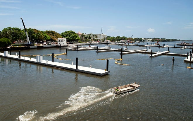 Construction of the new Town of Palm Beach Marina remains on track for completion by the scheduled date of Nov. 1. MEGHAN McCARTHY/Palm Beach Daily News