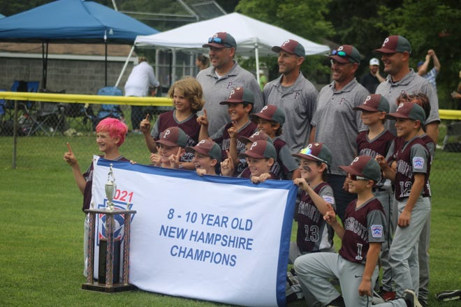 Portsmouth LL 9-10 All-Stars and coaches taking pictures with championship banner and trophy after defeating Salem. 3-2 on Sunday.