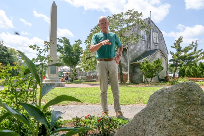 Will King, an Army veteran who served as a sentinel at the Tomb of the Unknown Soldier in Arlington National Cemetery, has built a remembrance garden, foreground, in Updike Park in Wickford. The garden is to be dedicated Saturday, Aug. 7,  National Purple Heart Day.