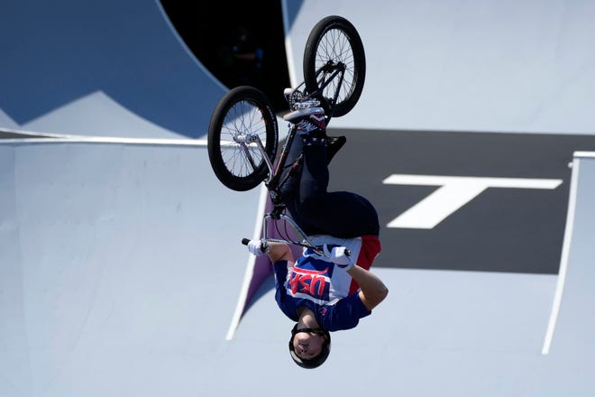 Hannah Roberts of the United States competes in the women's BMX freestyle final at the 2020 Summer Olympics, Sunday, Aug. 1, 2021, in Tokyo, Japan.
