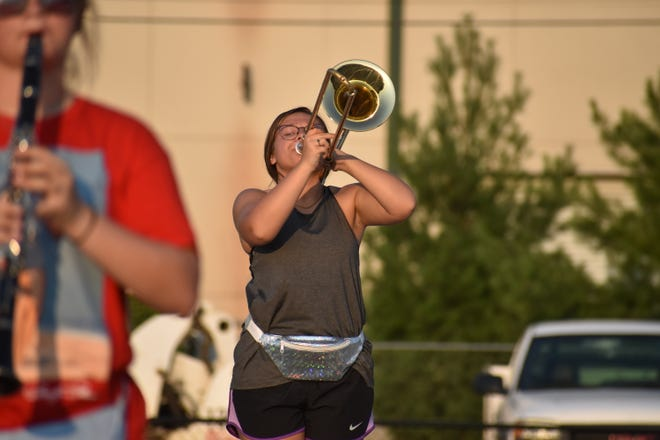 OV Junior, Cloe Sharpee, with her trombone at a recent practice.
