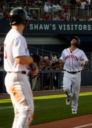 Tate Matheny hits a home run start during the WooSox game against Buffalo on Saturday.