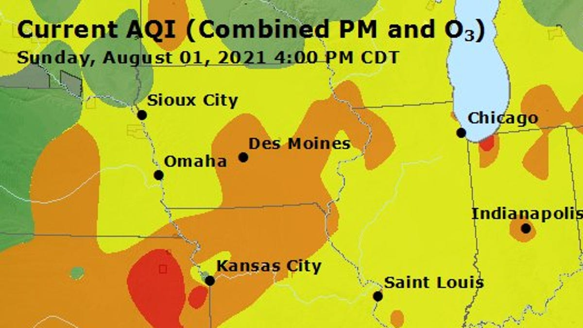 Air quality alert issued across Iowa as smoke plume persists from southern Canadian wildfires