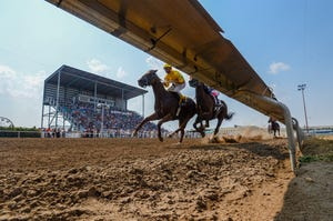 Montana State Fair horse race meet at the ExpoPark race track in July 2021.