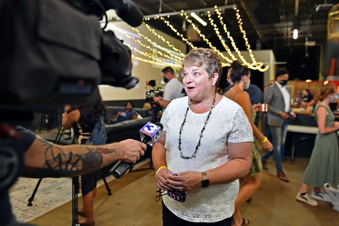 Doctor Michelle Fiscus talks with a reporter during the Happy Hour w/ Michelle Fiscus on Saturday, July 31, 2021 in Memphis,Tn.