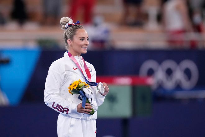 MyKayla Skinner of Gilbert/Desert Lights won a silver medal Sunday in the Tokyo Olympic women's vaulting final. She replaced Simone Biles in the event.