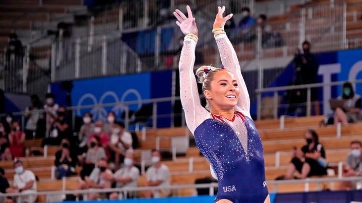 Mykayla Skinner competes on the vault at Ariake Gymnastics Centre.