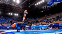 Mykayla Skinner soars through the air during the individual vault competition.