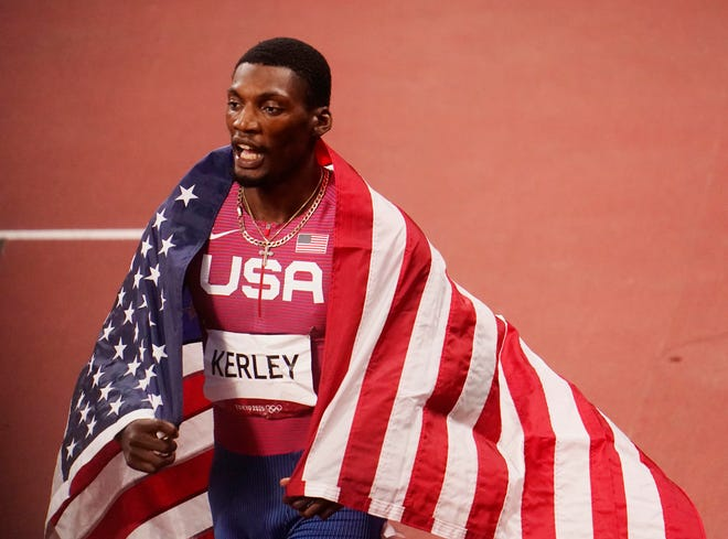 Former South Plains College star Fred Kerley celebrates winning the silver medal in the 100 meters Sunday at the Olympics in Tokyo.
