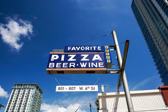 Favorite Pizza is located on West Sixth Street in a building that was long home to a liquor store.