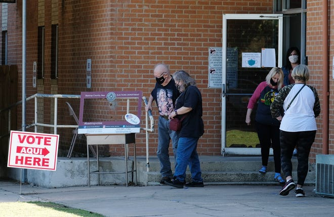 Bastrop voters cast their ballots at the First Baptist Church in downtown Bastrop Tuesday November 3, 2020. [NELL CARROLL/AMERICAN-STATESMAN]