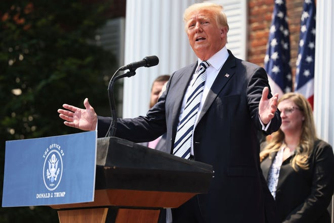 Former U.S. President Donald Trump, shown speaking last month, has a certain kind of political genius and a strong personal bond with the Republican base, Ross Douthat writes. (Michael M. Santiago/Getty Images/TNS)