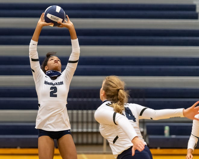 Hendrickson setter Karys Dove sets to Ella Wendel last season. Dove, who received all-Centex honorable mention a year ago, returns as the team's leader and one of the top playmakers in the Austin area while Wendel is arguably the top middle blocker in District 18-5A.
