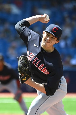 Cleveland's Eli Morgan tied his career high with nine strikeouts on Monday.