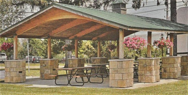 This is another example of the style of pavilion which could be built on the former PNC Bank property.