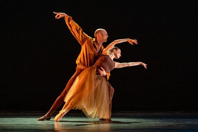 "Antonio Morillo and Lieneke Matte of Verb Ballets perform the pas de deux in Heinz Poll's ""Triptych."""